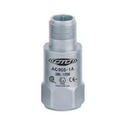 AC905 gyújtószikramentes rezgésgyorsulás érzékelő: 100 mV/g érzékenység, felső kivezetésű