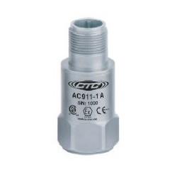 AC911 alacsony kapacitású gyújtószikramentes rezgésgyorsulás érzékelő: 10 mV/g érzékenység, felső kivezetésű