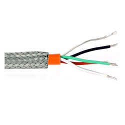 CB819 - 4 conductor twisted, shielded cable, orange Teflon jacket, stainless steel braided sheathing