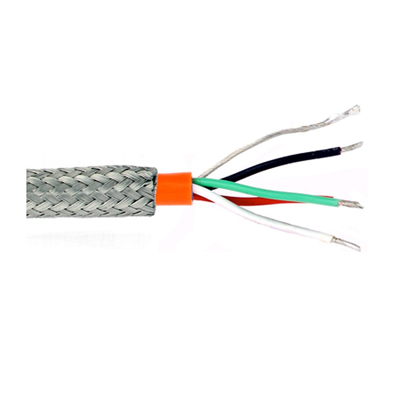 4 conductor twisted, shielded cable, orange Teflon jacket, stainless ...