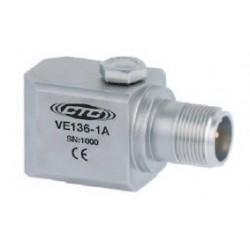 VE136 Piezo Electric Velocity Sensor, Side Exit Connector/Cable, 500 mV/in/sec